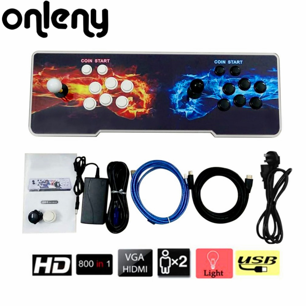 Onleny 800 In 1 Games Home Multiplayer Arcade Game Console Kit Set Double Joystick Children Game Console For Home Party TV Bar arcade joystick gamepad kit 800 games in 1 video tv jamma 2 joystick vga hidmi metal double stick arcade console with 2players