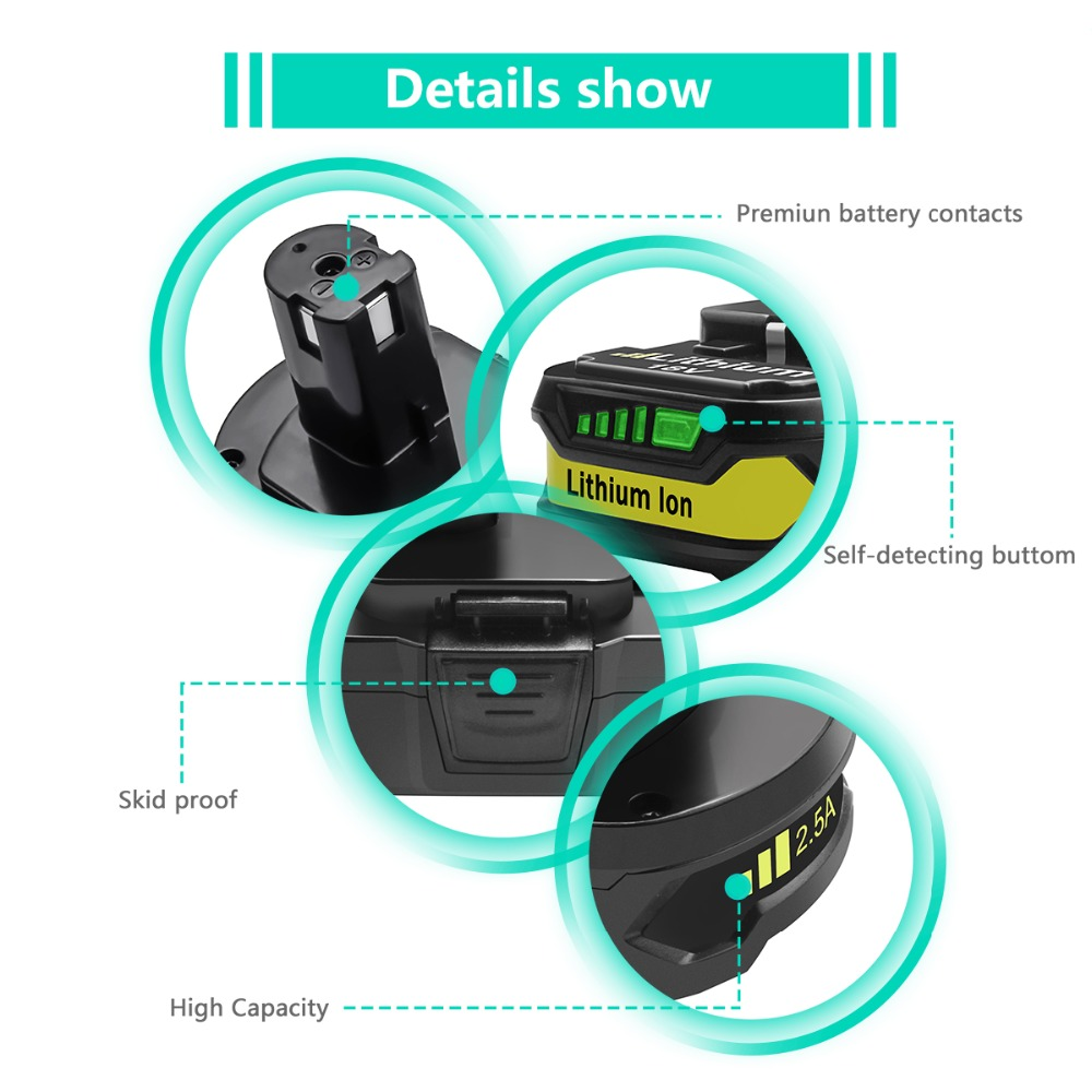18V 2500mAh Li ion P107 Rechargeable Battery For Ryobi Power Tools Drills Replace P100 P102 P103 P104 P105 P107 P108 L30 in Replacement Batteries from Consumer Electronics