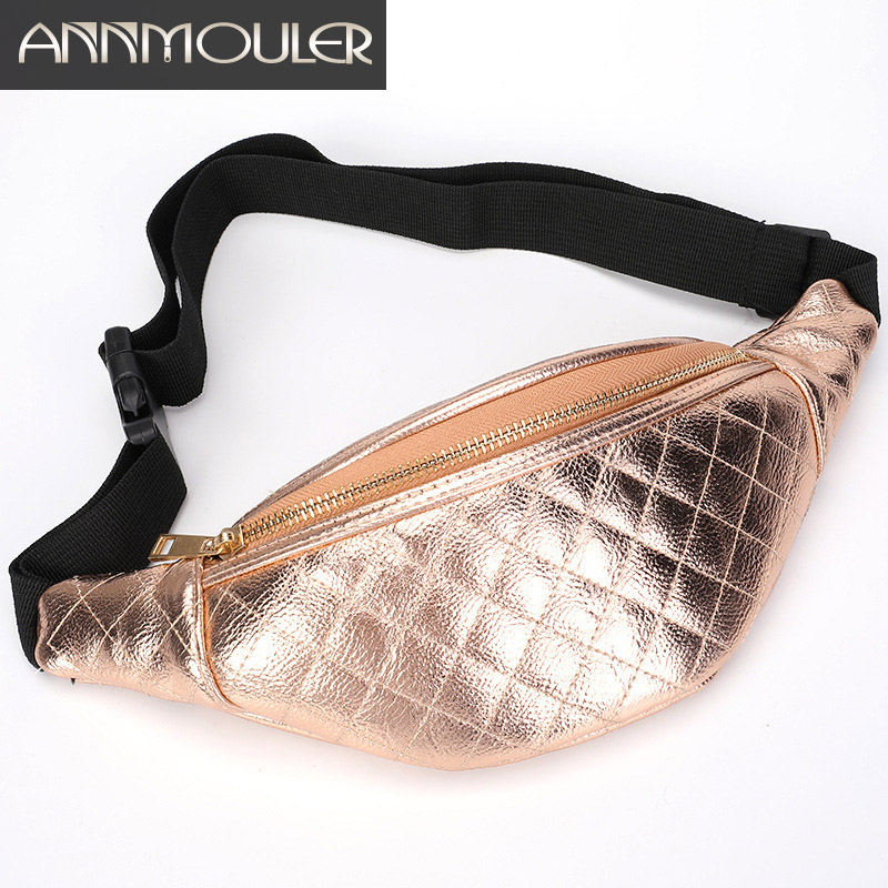 Annmouler Fashion Women Chest Bag Pu Leather Waist Bag Pu Leather Fanny Pack Large Capacity Bum Bag for Girls Waist Packs letter print long sleeve sweatshirt dress page 1