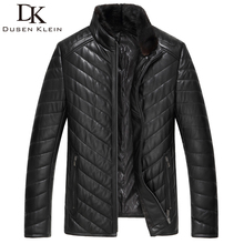 Dusen Klein Men Genuine Leather Down Jacket and Coat with Nature Mink Fur Collar Balck 61I518