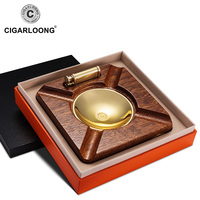 CIGARLOONG cigar ashtray lighter 2 pieces installed copper wood smoke tank with cigar lighter AH 1080