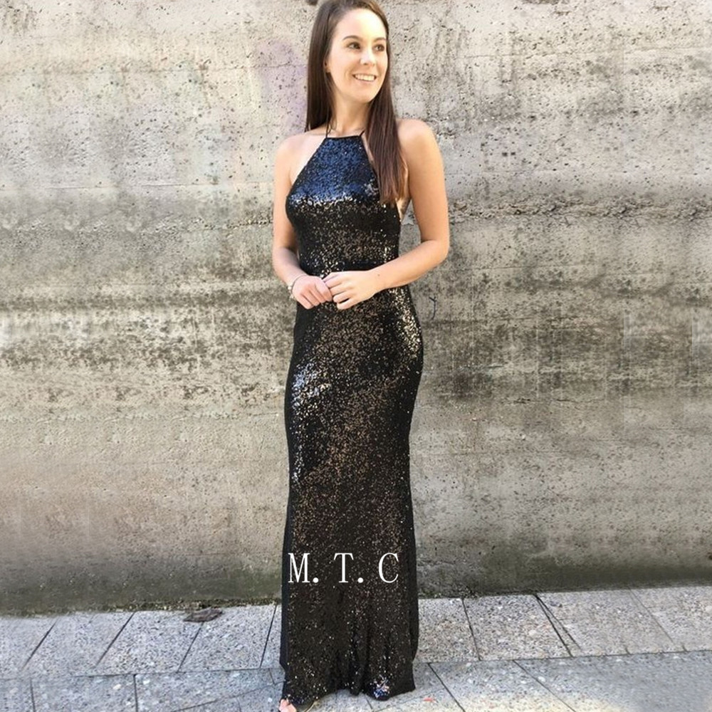 Black Mermaid Sequins   Evening     Dress   Spaghetti Strap Backless Floor Length Long Prom Gown 2019 Custom Made Wedding Party   Dresses