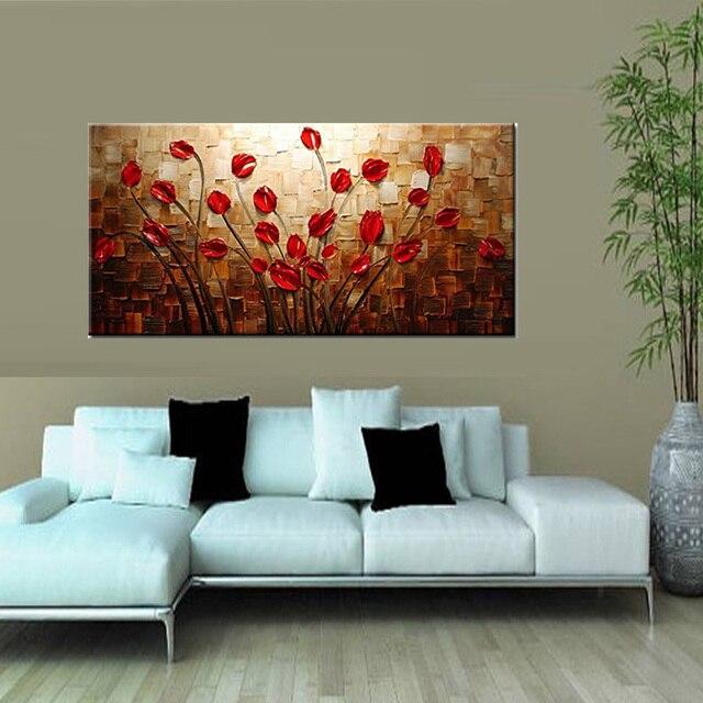 100% handgemalte strukturierte spachtel rote blume Ölgemälde ... - Moderne Kunst Wohnzimmer