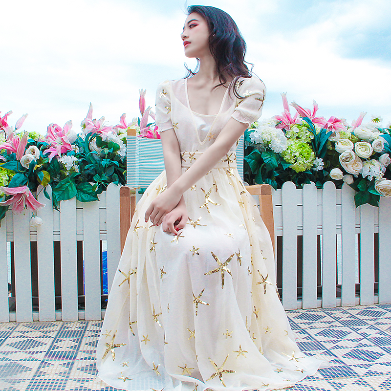 High Quality Designer Runway Dress Women Starfish Embroidery Mexican Bohemian Brand Boho People Sheer Mesh Maxi N154 In Dresses From Womens Clothing