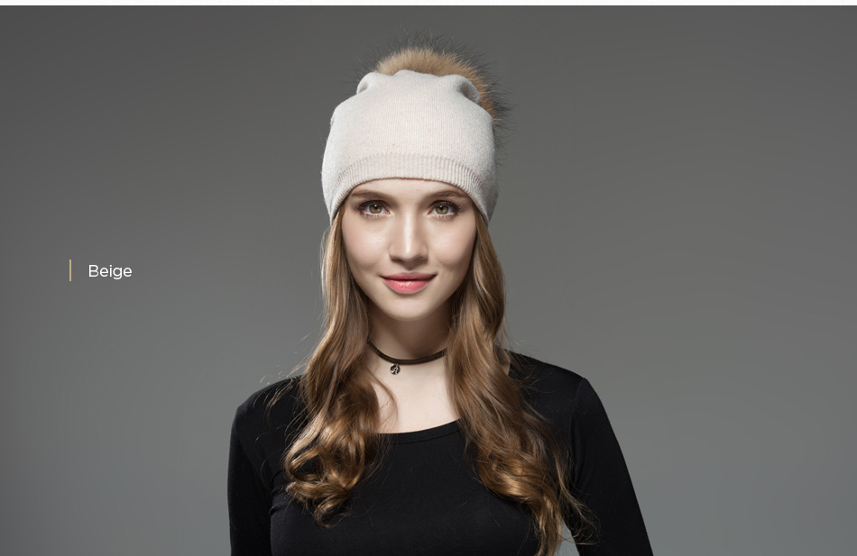 Mosnow Hat Female Women Raccoon Wool Fox Fur Pom Poms Warm Knitted Casual High Quality Vogue Winter Hats Caps Skullies Beanies1 (9)