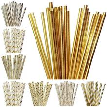 25pcs/lot Foil Gold/Silver Paper Straws For Birthday Party Decorations Kids & Wedding Decoration Supplies Creative