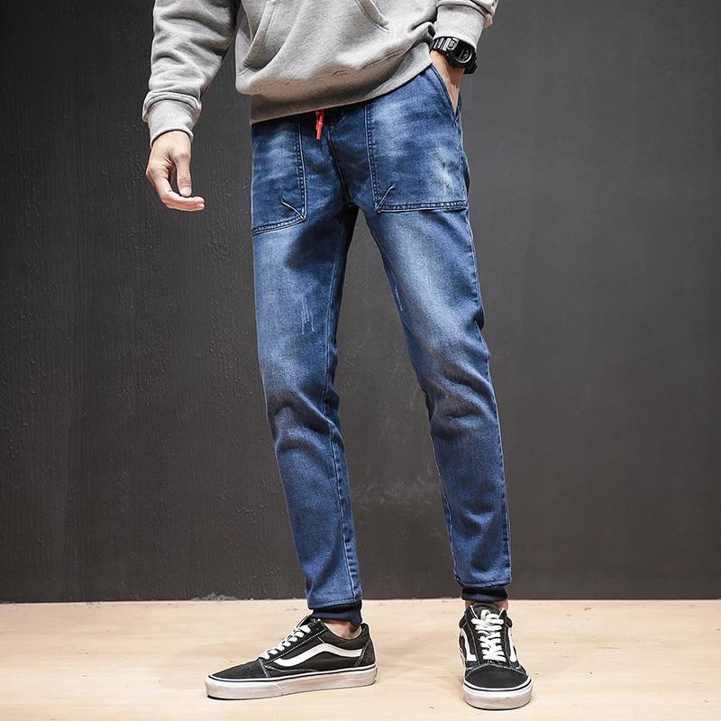 Japan Style Jeans Men Fashion 2018 Pocket Design Denim Pants Men Drawstring Slim Fit Casual Mens Jeans Joggers Big Size Trousers men denim cargo pants pocket fashion leisure jeans male fashion casual jeans trousers