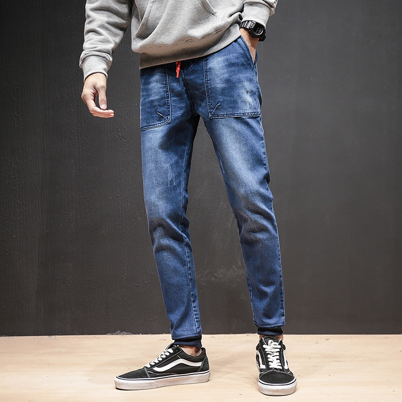 Japan Style Jeans Men Fashion 2018 Pocket Design Denim Pants Men Drawstring Slim Fit Casual Mens Jeans Joggers Big Size Trousers men s jeans homme denim pants for men straight casual skinny male slim fit clothes big size 30 48 masculino washed trousers e485