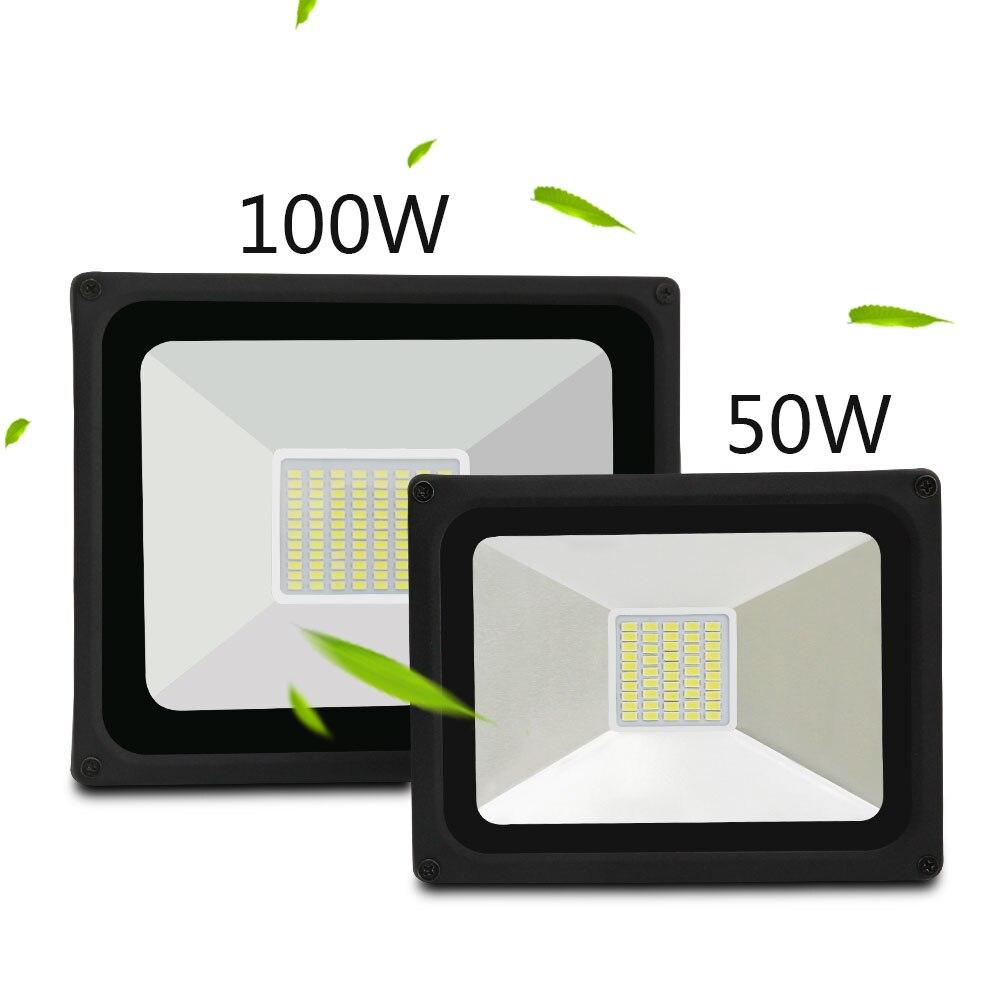 Waterproof IP65 LED Flood Light AC 176-264v Reflector Floodlight 50W 100W Warm/Cold white Spotlight Outdoor Wall Lighting