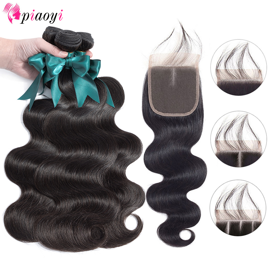 Peruvian Body Wave With Closure 100 Remy Human Hair Bundles With Closure Piaoyi Peruvian Hair Weave