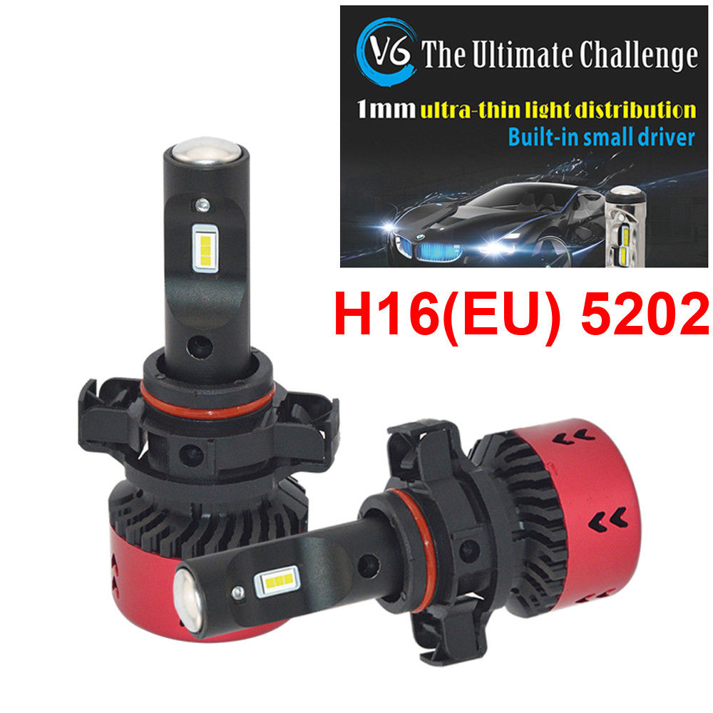2 Year Warranty! High Quality H16(EU) 5202 V6 LED Car Headlight Fog DRL Bulbs 70W 9600LM All-in-one EMC FLIP Chip White 6000K ...