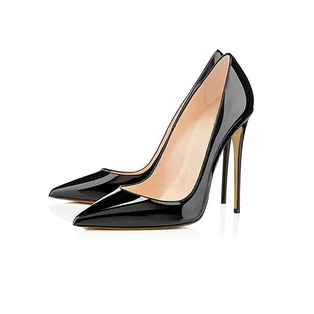 Big Sale Sexy Pointed Toe High Heel Pumps Patente Leather Thin Heels Woman Shoe 5