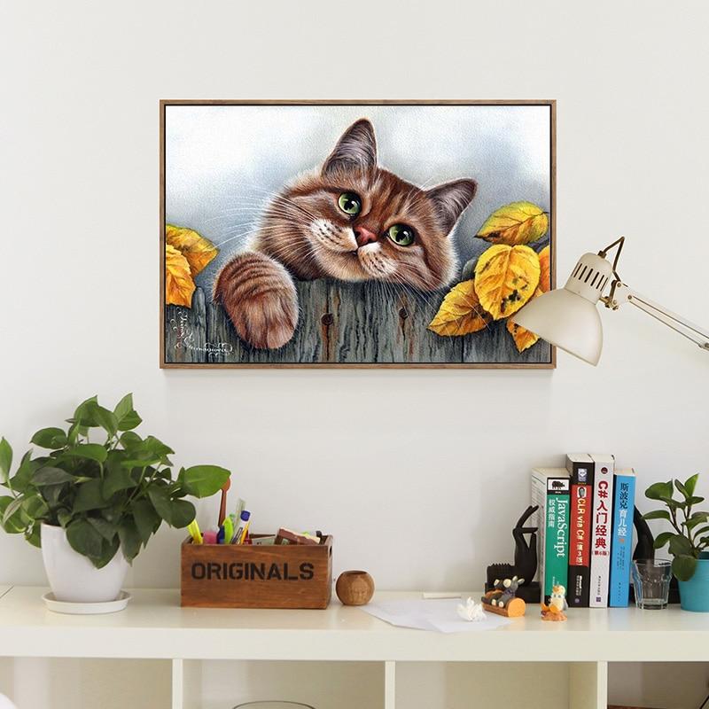 Meian Cross Stitch Embroidery Kits 14CT Cat Animal Tree Cotton Thread Painting DIY Needlework DMC New Year Home Decor VS-0030