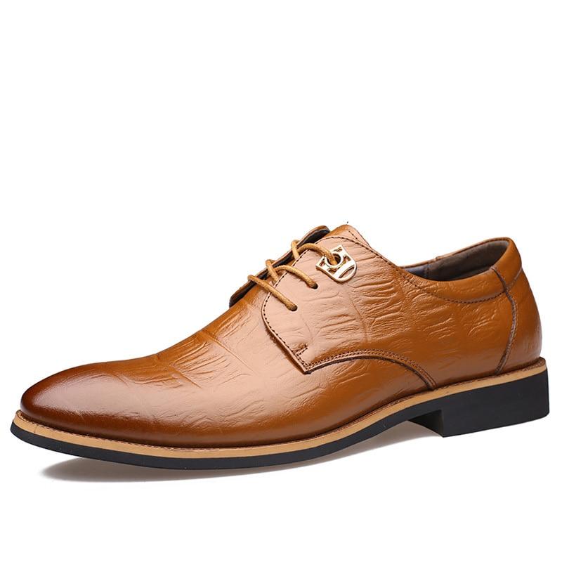3afd8a94049f7 Cosidram Cuero auténtico hombres Calzado de vestir vestido de lujo de negocios  Zapatos punta dedo del pie primavera hombres Oxfords hombre negro marrón  rme ...
