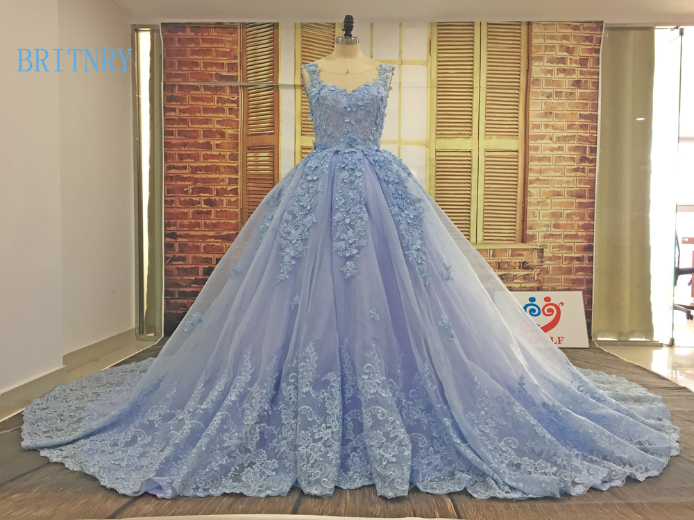 BRITNRY New Arrivals Bride Dress Scoop Lace Appliques Ball