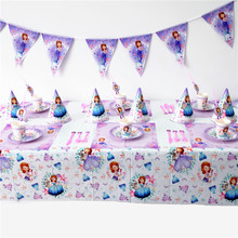 Disney Sofia the first Princess Sofia Kids Birthday Party Decoration Set Party Supplies cup plate banner hat straw loot bag fork(China)