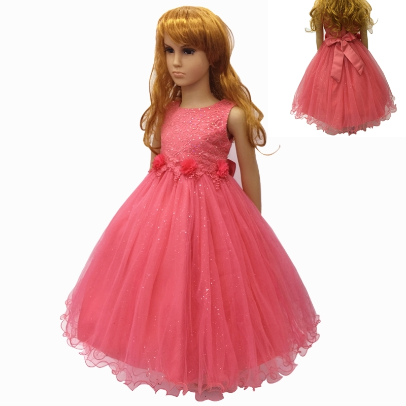 Cotton Lining 4-12 Years Girl Party Dress 2018 New Arrival Coral Flower Girl Dresses For Weddings Kids Evening Gowns With Bustle 2017 new arrival 4t 8t girl party dress organza cotton lining kids pageant ball gown turquoise flower girl dresses for weddings