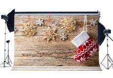 Фон для фотосъемки Рождественский носок гирлянда снежинки бесшовные рождественские выветренные деревянные напольные фоны счастливый новогодний фон