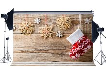 Photography Backdrop Christmas Sock String Snowflakes Seamless Xmas Weathered Wood Floor Backdrops Happy New Year Background