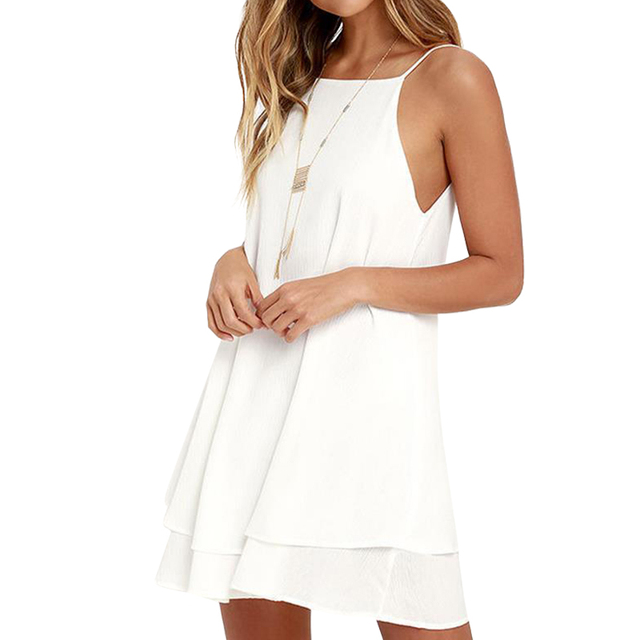 ddaa58db731a Women Sexy Backless Chiffon Summer Dress Sleeveless Spaghetti Strap  Sundress Solid Beach Party A-Line