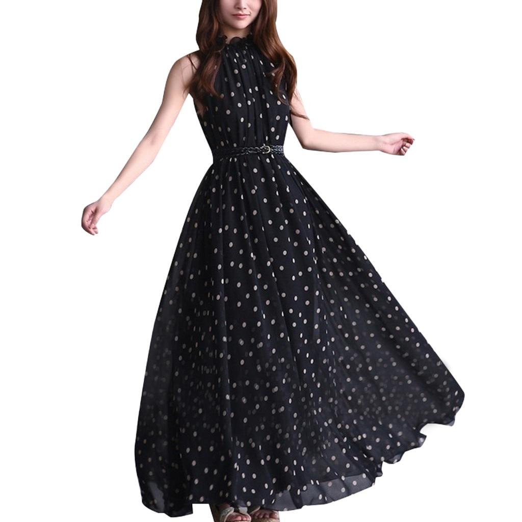Vintage Women Polka Dot Summer Dress A Line Girl Sleeveless Empire Sashes Evening Formal Dresses Woman Party Night Jurken Robe