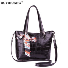 9711e891241b Crocodile Pattern Black Red Leather Bags Women Handbag bolsa feminina  dollar shop online handbags Tote Portable