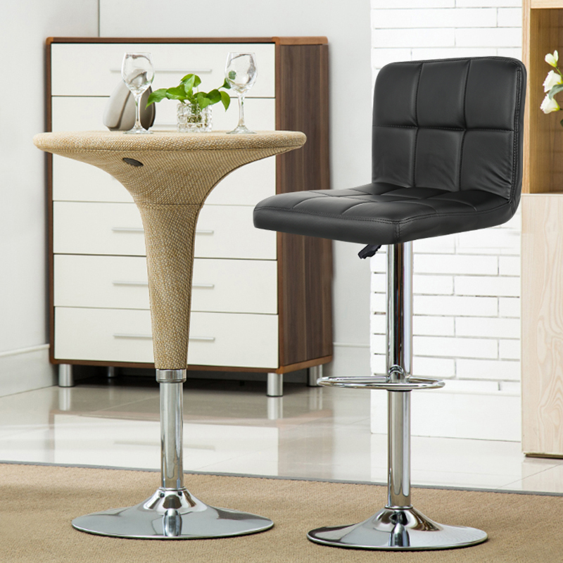 2Pcs/Pair Modern Grid Backrest Comfortable PU Leather Swivel Bar Chair Stool Height Adjustable Bar Stools Bar Pub Counter HWC