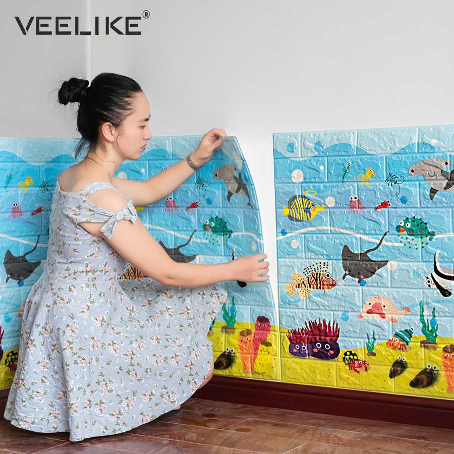 Pegatinas de pared anticolisión 3D para decoración de habitación de niños papel pintado de ladrillo 3D para decoración de dormitorio de sala de estar pared autoadhesiva de papel