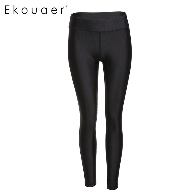 Ekouaer Casual Leggings Women Elastic Leggings Black High Waisted Fashion Skinny Fitness Legging Size S-XXL exercise Pant