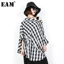 [EAM] 2019 New Spring Summer Slash Neck Three-quarter Sleeve Black Plaid Split Joint Big Size Shirt Women Blouse Fashion JF608
