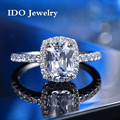 Luxury 2 Carat Princess Cut SONA Simulated Diamond Engagement Rings for Women Gold/Silver 925 Sterling Silver Wedding Ring