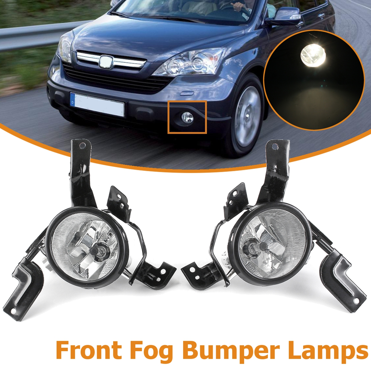 FOR HONDA CRV 2007 2008 2009 RE1 RE2 RE4 33951-SWA-H01 33901-SWA-H01 1Pair Glass Front fog lamp bumper Lights foglight front bumper foglight decoration strip 2 pcs