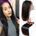Brazilian Virgin Hair Straight 3 Bundles With 360 Lace Frontal 7A Unprocessed Brazilian Human Virgin Hair With 360 Frontal Deal