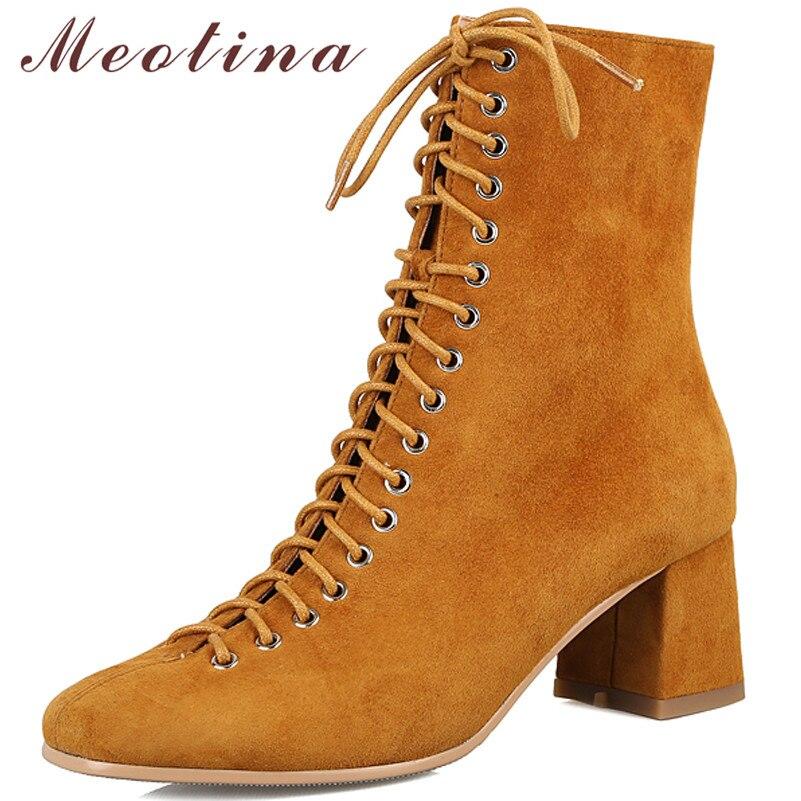 Meotina botas de tornozelo de couro real feminina camurça de vaca zíper grosso salto alto botas curtas rendas até praça toe sapatos senhora outono tamanho 39