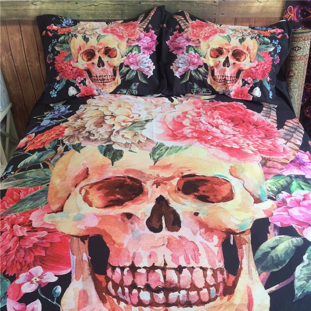 3D Skull Bedding set Cotton Blend Duvet Cover Set Full/Queen/King Size Bedspread Sugar Flower 3D Skull Duvet Cover