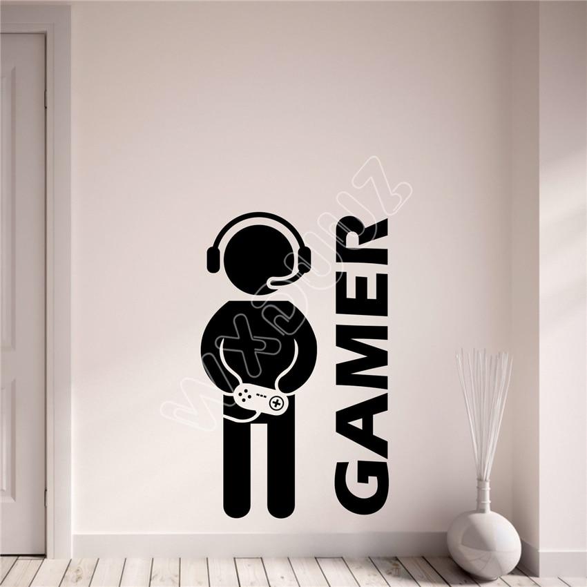 WXDUUZ Gamer Gaming Vinyl Wall Art Decal Boys Girls Teenagers Bedroom Game Room Vinyl living room space Wall Sticker B536