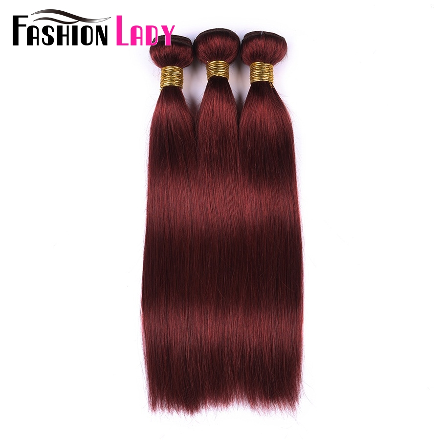 Fashion Lady Pre-Colored Human Hair Bundles Straight Peruvian Hair Color 33# Burgundy 3 Bundles Red Hair Extensions Non-Remy
