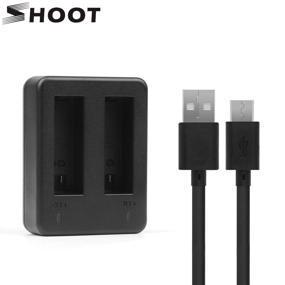 где купить SHOOT AHDBT-401 USB Dual Port Battery Charger for Gopro Hero 4 HERO4 Black Silver Sports Cam with USB Cable Go pro 4 Accessory по лучшей цене