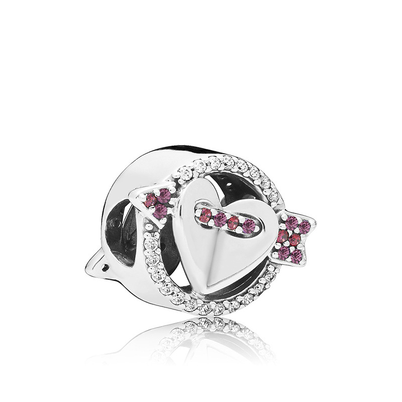 5PCS-European-Crystal-Cupid-s-Arrow-Heart-Loose-Round-Bead-Fit-Original-Pandora-Charms-Silver-925