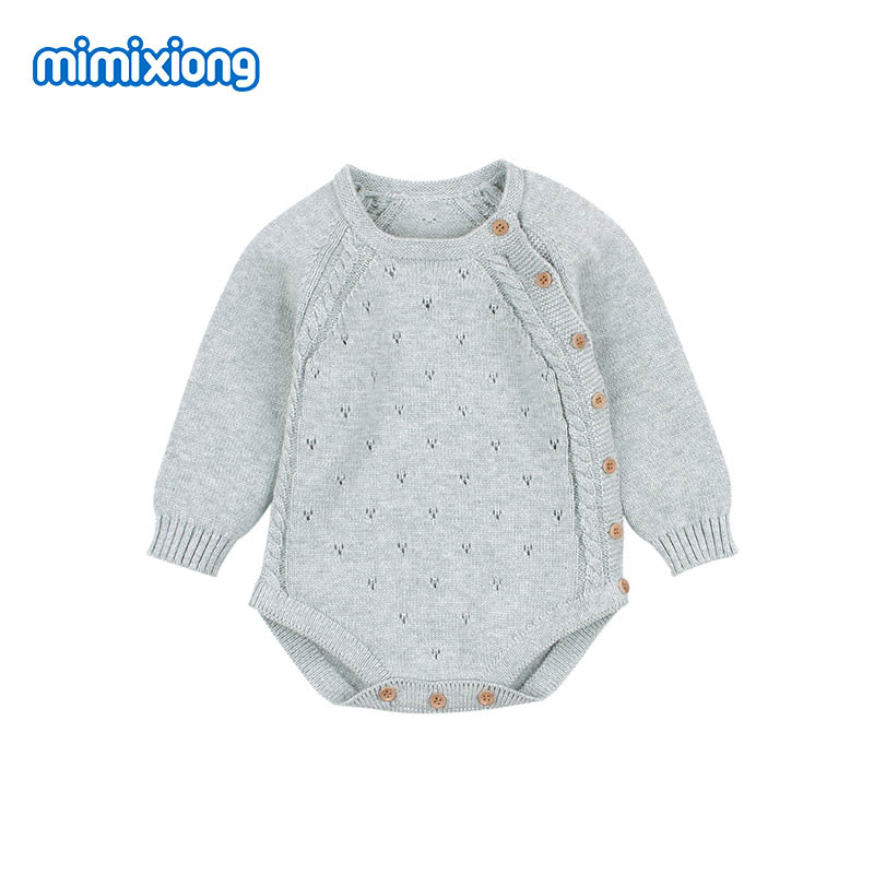 Baby Girl Bodysuits Fashion Candy Color Knitted Newborn Infant Kids Boys Onesie Clothes Autumn Long Sleeve Children Outfits Wear