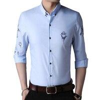 Rose Flower Men Formal Shirt Long Sleeve Business Casual Slim Fit Big Tall Social Dress Shirt
