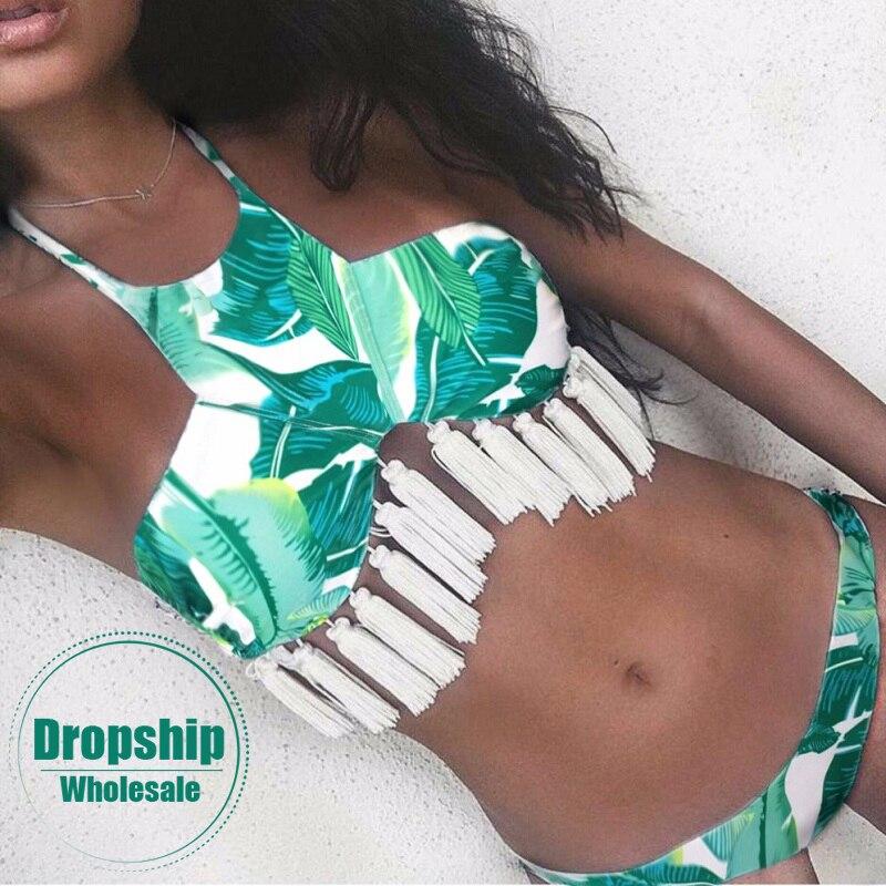 2018 Sexy Women Bikini Set Leaf Print Push up Bikinis Padded Halter Summer Swimming Pool High Neck Tassels Swimsuit Swimwear