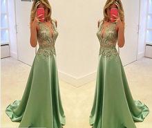 Appliques verführerische Tank Abendkleid 2016 Glamorous Sleeveless A-Line Satin Abendkleid vestidos de noche