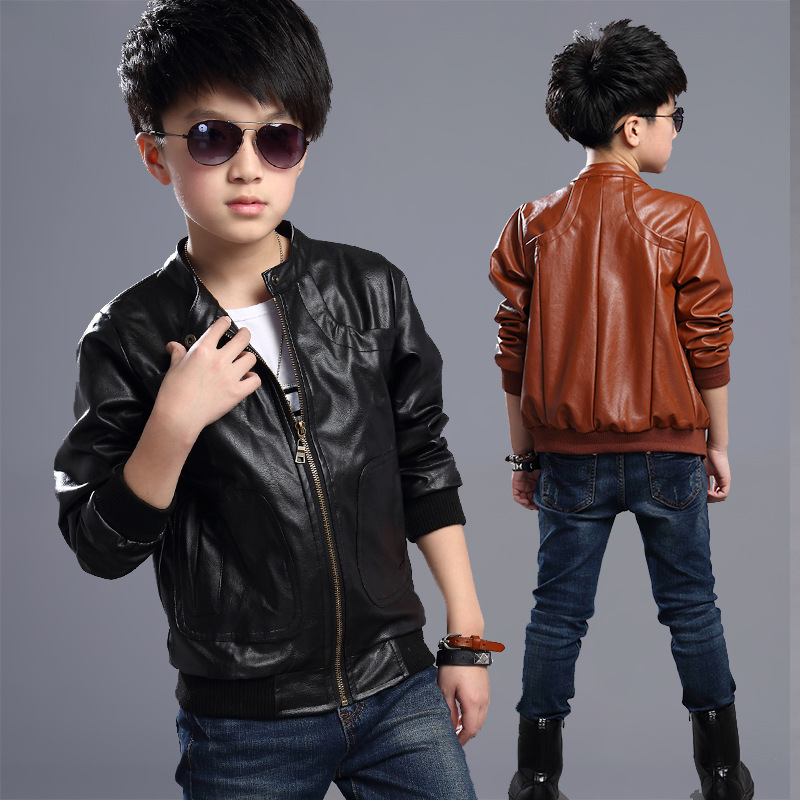 2018 Children Boy Outerwear Spring & Autumn Winter New baby Boys PU Coats Faux Leather jacket children clothing top Outwear C20