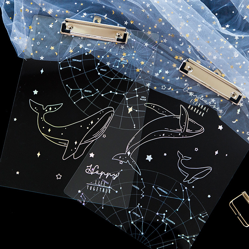 A4 Starry Sky Transparent Clipboard Writing Pad File Folders Document Holder School Office Stationery Supply