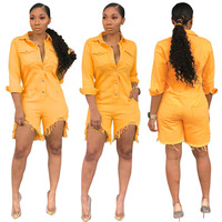 Yellow Denim Women Summer Streetwear Sexy Bodycon Jeans Playsuit Female Fashion Irregular Overall Plus Size