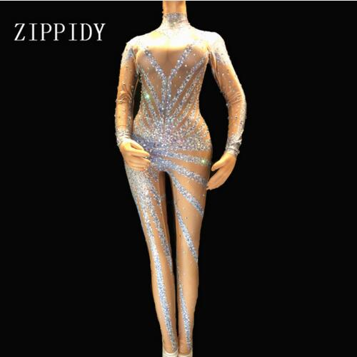 Fashion Silver Shining Rhinestones Bodysuit Women Sexy Stage Performance Wear Singer Show Costume Big Stretch Jumpsuit