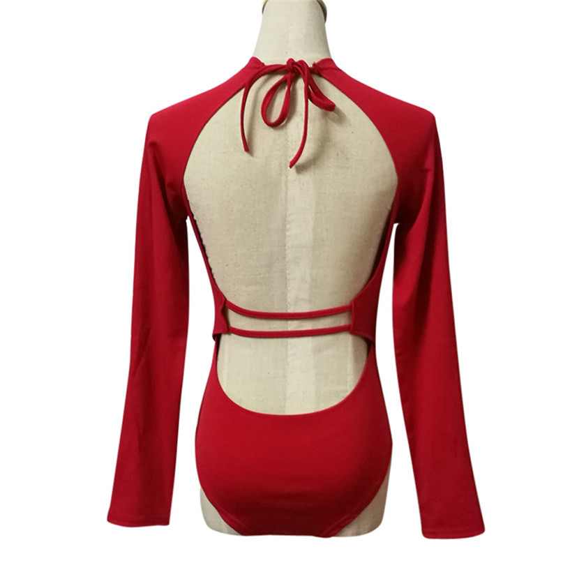 Women Surfing & Beach T-shirts Open Back V-neck zipper Swimsuits Ladies Beach Water Sports Sexy Long sleeve Vest jumpsuit  (8)