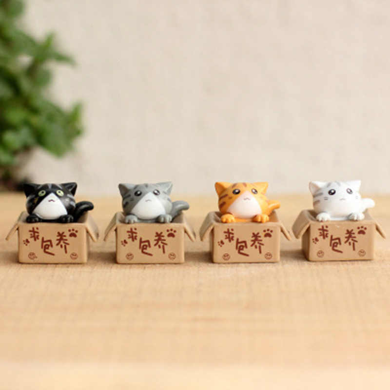 Lovely Cartoon Poor Box Cat Mini Kitty Kitten Model Small Statue Car Figurine Crafts Garden Figure Ornament DIY Miniatures