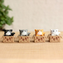 Lovely Cartoon Poor Box Cat Mini Kitty Kitten Model Small Statue Car Figurine Crafts Garden Figure Ornament DIY Miniatures(China)
